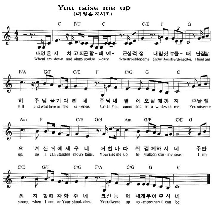 From The Ground Up Sheet Music With Lyrics: 창양대 > 찬양모음 > You Raise Me Up